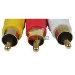 CABLE 3 RCA A 3 RCA 5 MTS. CONECTOR BAÑO ORO