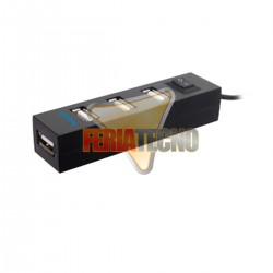 HUB USB 4 PUERTOS 2.0, 55 CMS, NEGRO.