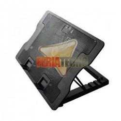 VENTILADOR PARA NOTEBOOK USB, AJUSTABLE EN ALTURA, 2 USB, LUZ AZUL. NEGRO