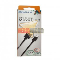 CABLE MICRO USB A USB 2 MTS. NEGRO.
