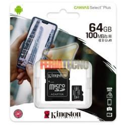 MEMORIA MICRO SD 64 GB CLASE 10+ADAPTADOR, CANVAS SELECT PLUS, KINGSTON