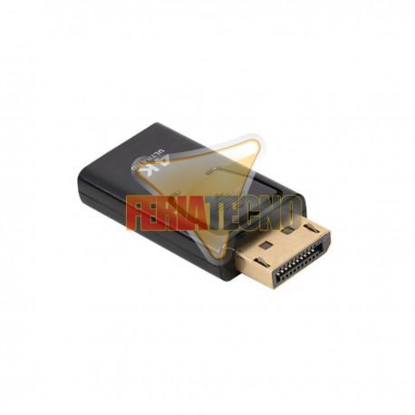 ADAPTADOR DISPLAY PORT MACHO A HDMI HEMBRA. 4K