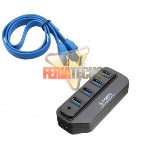 HUB USB 4 PUERTOS 3.0 , NEGRO. CABLE 50 CMS.
