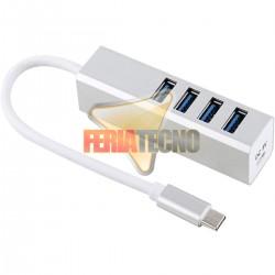 HUB USB-C A 4 PUERTOS USB 3.0, 15 CMS