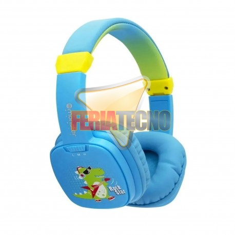 AUDIFONO PARA NIÑO MONSTER DINO CELESTE, COOLKID