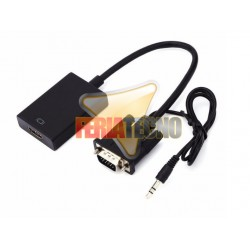 CONVERSOR DE VIDEO VGA + AUDIO A HDMI. ALIMENTA POR USB