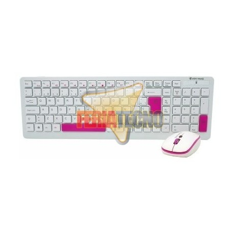 KIT TECLADO Y MOUSE INALAMBRICO USB, BLANCO/ROSADO
